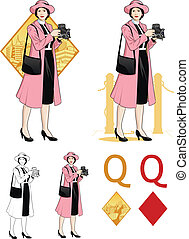 Queen of diamonds asian woman photographer Mafia card set -...