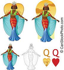 Queen of hearts afroamerican actress Mafia card set - Retro...
