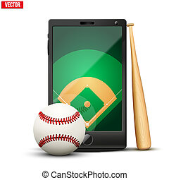 Smartphone with baseball ball and field on the screen Sports...
