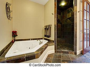 Modern bathroom interior with tile shower trim - Bathroom...