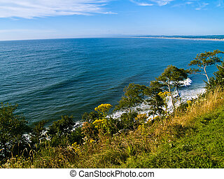 Cliffside View of Ocean - A view of the ocean from a cliff...
