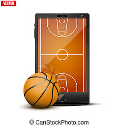 Smartphone with basketball ball and field on the screen...