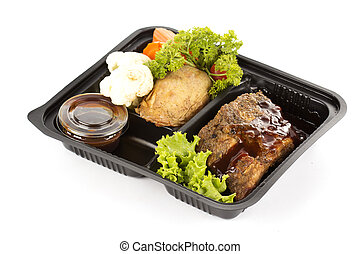 Delicious BBQ ribs in the plastic pack