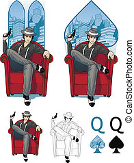 Queen of spades Mafia card set - Retro character attractive...