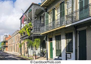 quarto, edifícios, histórico, francês