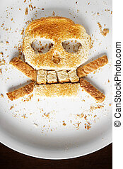 Bread Crossbones - Stock image of bread skull and crossbones...