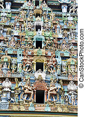 Sculpture on Temple Tower - Details of exquisite, colorful...