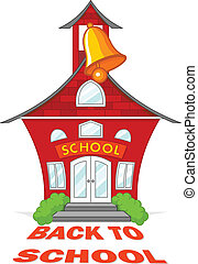 Back to School - Illustration of cute school building with a...