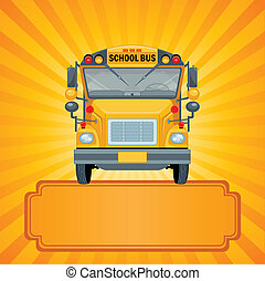 Yellow school bus - Illustration of American school bus