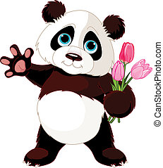 Happy Panda - Illustration of Panda holding bouquet of...