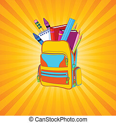 Full backpack - Illustration of full backpack of school...