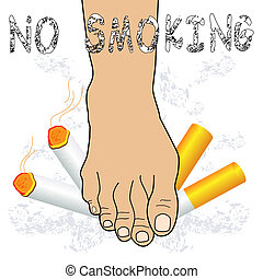 No smoking - Foot destroying cigarette- No smoking concept