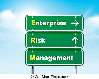 3d enterprise risk management road sign isolated on blue...