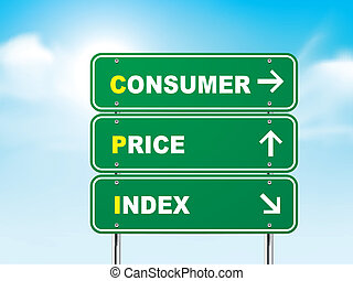 3d consumer price index road sign isolated on blue...