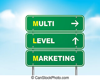 3d multi level marketing road sign isolated on blue...