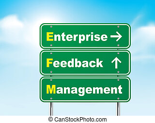 3d enterprise feedback management road sign isolated on blue...