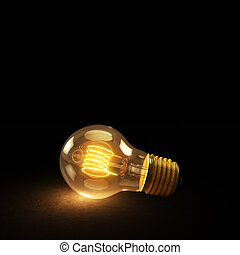 Glowing Incandescent Light Bulb on a Dark Background -...