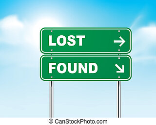 3d road sign with lost and found isolated on blue background