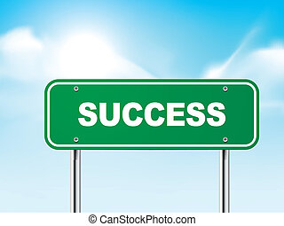 3d success road sign isolated on blue background
