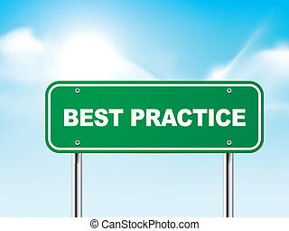 3d best practice road sign isolated on blue background