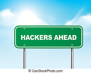 3d hackers ahead road sign