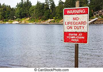 No lifeguard on duty warning sign