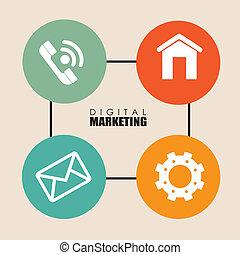 Marketing design over beige background, vector illustration