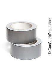 Rolls of white adhesive tape, isolated on white background