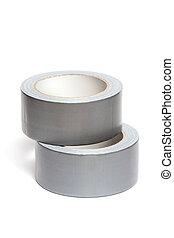 Rollos, blanco, adhesivo, cinta
