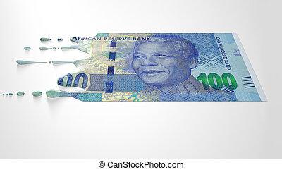 sud, africaine, rand, fondre, égouttement, billet...
