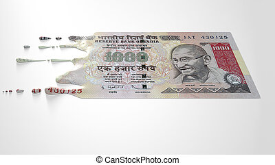 Indian Rupee Melting Dripping Banknote - A concept image...