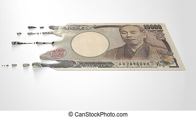 Japanese Yen Melting Dripping Banknote - A concept image...