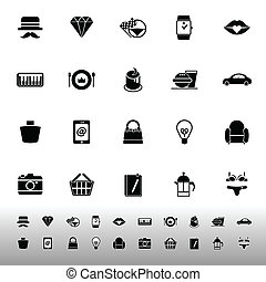 Department store item category icons on white background,...