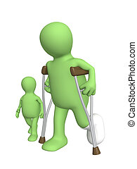 Child and invalid - Child and the adult - invalid on walk