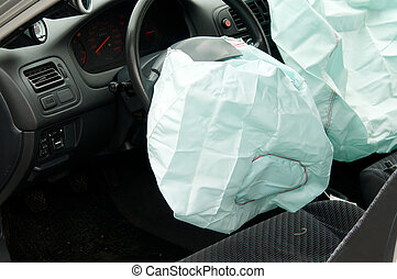 Deployed AirBags Car Accident Aftermath - Interior view of 2...