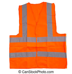 Reflective Vest - Orange reflective vest over white...