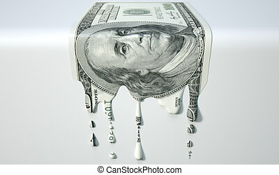 US Dollar Melting Dripping Banknote - A concept image...