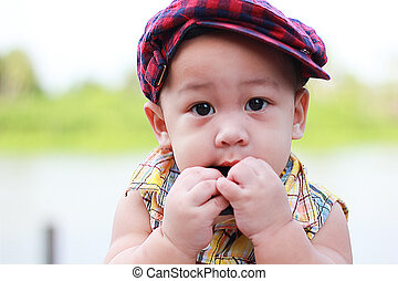 Young children Boy try to eating - Young Children Boy try to...