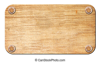 Wooden board over white background. Isolated image