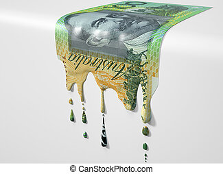 Australian Dollar Melting Dripping Banknote - A concept...