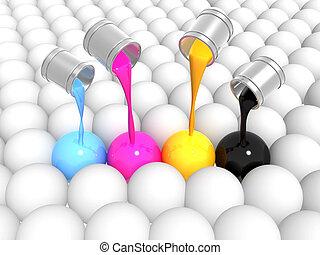 Palette CMYK - Conceptual image - a palette CMYK