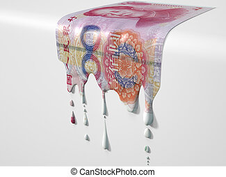 Chinese Yuan Melting Dripping Banknote - A concept image...