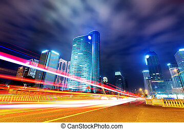 Hangzhou, China - China Hangzhou skyscrapers, night...