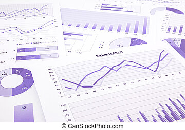 purple business charts, graphs, data and report summarizing...