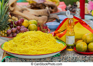 Sacrificial offering Chinese Culture - Food, Fruit,...