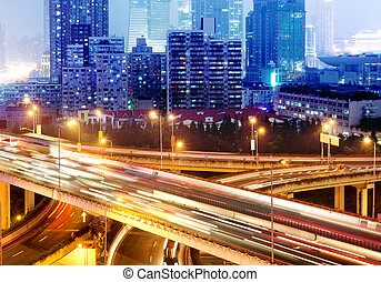 Viaduct - shanghai interchange overpass and elevated road in...