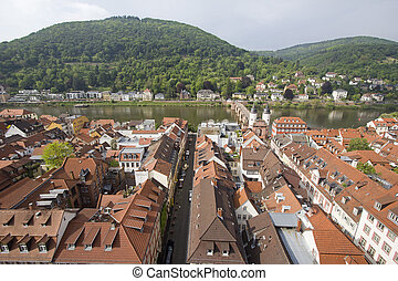 Heidelberg and Neckar River, Germany - View of Heidelberg...