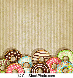 retro background with donut - donut retro background- vector...