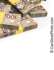 Canadian Dollar Notes Scattered Pile - A pile of randomly...