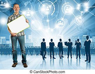 Business Man Employer - HR concept Business man choosing the...